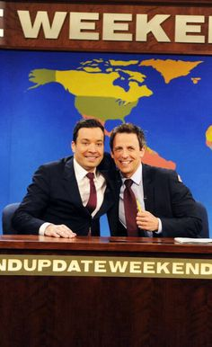 Jimmy Fallon & Seth Meyers- Two of my favorite funny people! Be Brave Divergent, Jimmy Fallon Justin Timberlake, Late Night Talks, Lumpy Space Princess, Seth Meyers, Girl Meets World, Boy Meets, Will Ferrell, Thing 1