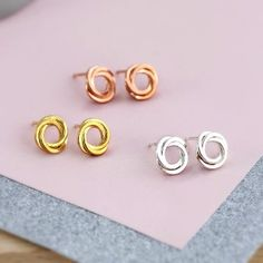 Posh Totty Designs 18ct Yellow Gold Russian Ring Stud Earrings: These beautiful 18ct yellow gold plated Russian Ring Stud Earrings are a variation of our  Russian Ring Necklace. They are a lovely gift for loved on or a little treat for yourself!