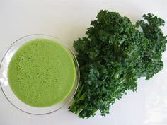 Tastes Like (Pistachio) Ice Cream Kale Shake | The Blender Girl (got rave reviews; if you are not a fan of bananas in your smoothie, one reviewer overnight-soaked 3T chia seeds with 1 cup water as a replacement)