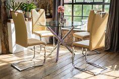 Maia Dining Table Set with 4 Luxury Chairs Elio Caramel Faux Leather Cantilever Chrome Chairs Seats Four Legs Round Clear Glass Table Glass Round Dining Table, Modern Dining Table, Glass Table, Dining Set, Dining Chairs, Round Glass, Dining Room, Dining Furniture Sets, Outdoor Furniture Sets