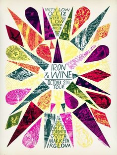 Grady McFerrin silkscreen poster for Iron & Wine Poster On, Poster Prints, Wein Poster, Kunst Poster, Festival Posters, Jazz Festival, Design Graphique, Band Posters, Tumblr