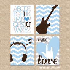 Rock and Roll Nursery Prints, All you need is love prints, Modern Musical Prints, Nursery/Kids Giclée Art Prints // N-G06-4PS