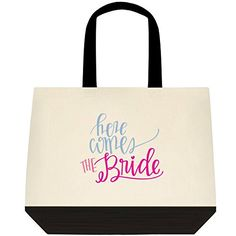 Here Comes the Bride Wedding Bride Tote Bag (lg-blk-trim-NON-Personalized) *** Discover this special product, click the image : Travel toiletries Large Bags, Small Bags, Travel Toiletries, Here Comes The Bride, Black Trim, Travel Accessories, Personalized Wedding, Wedding Bride, Reusable Tote Bags