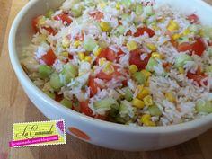 Salade de Riz Végétarienne Quiche, Vegan Recipes, Vegan Meals, Grains, Food, Buffet, Cocktail, Side Dishes, Pasta Salad