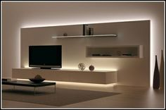 Wohnzimmer Tv Wand Ideen Einzigartig Tv Wand Selber Bauen Ideen Living Room Tv Wall Ideas Unique Tv Wall Self Build Ideas Living Room Tv, Living Room Lighting, Home And Living, Living Room Ideas Tv Wall, Tv Wall Decor, Diy Wall, Muebles Living, Indirect Lighting, Tv Wall Design