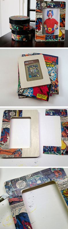 Decoupage Comic Book Frame | 20 DIY Fathers Day Gift Ideas from Wife | DIY Holiday Gift Ideas for Men