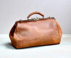 Vintage Leather Doctor Bag Medical Purses Bags Frame