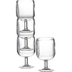 Table In A Bag Aspen C030504 ABS Clear Plastic Wine Glasses, Set of 4 by Aspen & Brands. $19.99. Dishwasher safe on top rack. Made of durable ABS plastic. Perfect for picnics, backyard, the beach, outdoor concerts. Stylish glasses for outdoor use. Stack nicely for easy storage. Table In A Bag clear wine glasses are made of durable ABS plastic, but have the look of glass. These wine glasses are perfect for the beach, backyard parties, picnics or outdoor concerts. Glasses stac...