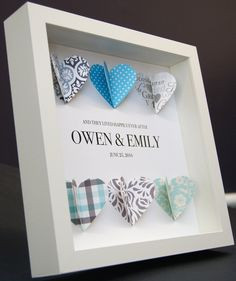 Personalized Wedding, Engagement, Anniversary, Bridal Shower 3D Paper Hearts Origami Shadowbox Frame Custom Gift by paintandpapercraft on Etsy