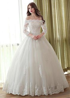 Alluring Tulle & Satin Off-the-shoulder Neckline Ball Gown Wedding Dresses With Lace Appliques