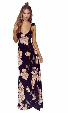 Description: Peony Print Maxi Dress With deep V-neck, empire waist, and