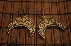 Crescent moon with directed down horns - ancient talisman of protection worn by women. Brass earrins with ornament engraved. Patinated.  Ear hooks -