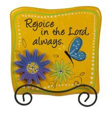 PLAQUE: REJOICE IN THE LORD ALWAYS. Brighten up any room with the vivid colours and inspirational messages of these multicoloured plaques. Display your faith in new and fresh ways. Wooden plaques with easel backs: 194mm x 25mm x 210mm