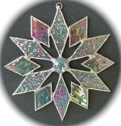 stained glass snowflake suncatcher design 4C by bitsandglassart, $15.00