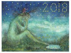 "Gelukkig 2018 met veel monsters op je weg!! Hoe ga jij om met je ""monsters"" op je weg in 2018?  Happy 2018 with loads of monsters on your path! How do you deal with your ""monsters"" on your path in 2018? #happynewyear #monster #illustration #susiart #2018 #happymonster #wildthing #childrensillustration"
