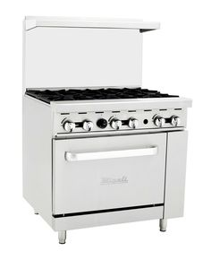 ATOSA Range: Gas Range Right Oven. range with a griddle top with 4 burners. BTU top burners, BTU griddle and BTU oven burners. 36 Gas Range, 6 Burner Gas Stove, Commercial Cooking, How To Clean Chrome, Large Oven, Restaurant Equipment, Home, Natural, Industrial