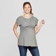 139e67db17d37 Ingrid & Isabel Isabel Maternity by Maternity Short Sleeve Twist Front Dolman  Sleeve T-Shirt - Isabel Maternity by Heather Gray