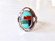 Carolyn Pollack CP Relios Sterling Silver 925 Inlaid Turquoise Oyster Sz 5 Ring #CarolynPollack #Cocktail