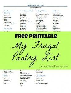 free printable frugal pantry list