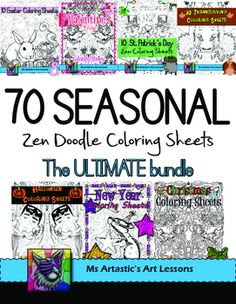 70 Seasonal Coloring Sheets to keep your students busy for the ENTIRE YEAR! Mindful, zen, coloring sheets for all ages. All 70 pages are hand drawn by Ms Artastic. These coloring sheets are very detailed and are a great way to get into seasonal themes in your classroom!