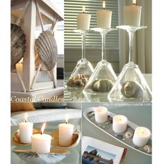 I love candles. This is how I decorate with them. In lanterns, glasses that allow me to display beach finds, shell trays and a boat shaped tray. For many more ideas browse subcategory candles on Completely Coastal:  http://www.completely-coastal.com/search/label/Candles