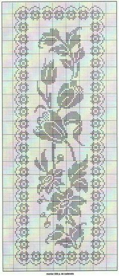 Filet crochet chart for a rose inspired table runner. Filet Crochet Charts, Crochet Cross, Crochet Home, Thread Crochet, Crochet Motif, Crochet Designs, Crochet Stitches, Crochet Table Runner, Crochet Tablecloth