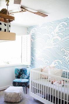 ocean themed nursery with loft bed for toddler. Shared nursery with toddler # Surf Nursery, Ocean Themed Nursery, Nursery Room, Nursery Decor, Nursery Ideas, Wall Decor, Wallpaper For Boys Room, Bedroom Ideas, Giraffe Nursery