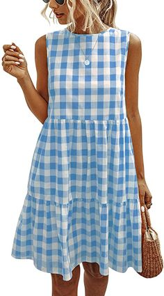 Enjoy exclusive for ECOWISH Women Dresses Plaid Sleeveless Summer Casual Sundress A Line Loose Swing T Shirt Mini Dress Pockets online - Findandbuytopstyle Mini Shirt Dress, Short Mini Dress, Gingham Dress, Plaid Dress, Blue Gingham, Cute Dresses, Short Dresses, Dressy Dresses, Simple Dresses