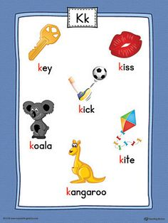 Letter K Word List with Illustrations Printable Poster (Color) Worksheet.Use the Letter K Word List with Illustrations Printable Poster to play letter sound activities or display on a classroom wall. Letter K Words, Alphabet Words, Alphabet Phonics, Alphabet Pictures, Teaching The Alphabet, Alphabet For Kids, Letter Sound Activities, Preschool Letters, Alphabet Activities