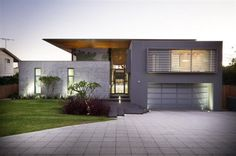 Charming Contemporary Minimalist House Design Australia Featuring Exterior Wall Hidden Lamp Glass A Tall Cable Balcony Fences Glass Wall Design A Nice Concrete House Modern Concrete Landscaping Inspiration Ideas Design Residential Architecture, Contemporary Architecture, Architecture Design, Contemporary Homes, Australian Architecture, Sustainable Architecture, Modern Homes, Minimalist House Design, Modern House Design