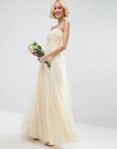 Vestido largo con escote palabra de honor y detalle de malla con frunces de ASOS BRIDAL #fashion #moda #circulogpr #primavera #guapa #happy #love #iloveyou #smilling #style #fashioninspiration #beautiful #girlfriend #Bridesmaid #wedding #bodas #novias