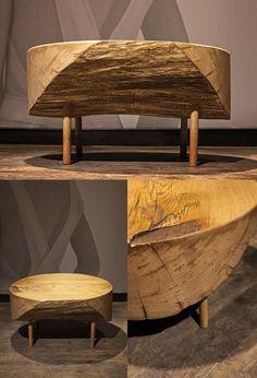 coffee table DOT, massive oak, diameter cca 80 cm Firewood, Coffee, Table, Furniture, Home Decor, Kaffee, Woodburning, Interior Design, Home Interior Design