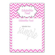 INSTANT DOWNLOAD Editable Blank Party Card - Pink Chevron Birthday Party Baby Shower Invitation Cards Chevron Birthday, Baby Shower Invitation Cards, Invite, Baby Shower Party Games, Birthday Thank You Cards, Blank Cards, Bridal Shower, Food Label, Etsy