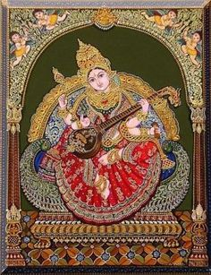 Mysore Painting, Tanjore Painting, Saraswati Picture, Saraswati Goddess, Durga, Hall Painting, Krishna Art, Shree Krishna, Pooja Room Design