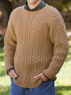 """Free Knitting Pattern for Aram Pullover - Classic men's aran cable pullover with long sleeves was designed by the amazing Norah Gaughan for Berroco. To Fit Chest Size:   34(38-42-46-50)""""."""