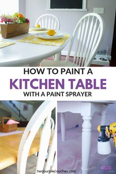 Learn how to paint a kitchen table and chairs with a paint sprayer. Give your kitchen table a makeover with this DIY tutorial. #ad #DIWagner #DoneInADay #beforeandafter #furnituremakeover #kitchentablemakeover #tablemakeover #paintedfurniture #kitchen