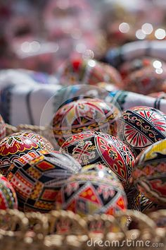 Photo about Beautiful romanian decorated ester eggs. Image of hunt, basket, childhood - 70823494 Easter Eggs, Objects, Hand Painted, Stock Photos, Photography, Painting, Image, Beautiful, Decor