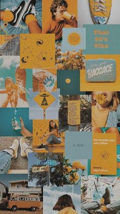 Vintage Wallpaper Iphone, Wallpaper Pastel, Wallpaper Collage, Iphone Wallpaper Yellow, Collage Background, Iphone Wallpaper Tumblr Aesthetic, Cute Patterns Wallpaper, Iphone Background Wallpaper, Aesthetic Pastel Wallpaper