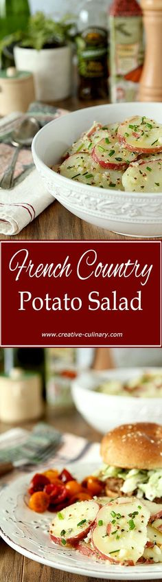 A nice alternative to a regular potato salad, this classic French Country Potato Salad is light and filled with herbs! via @creativculinary