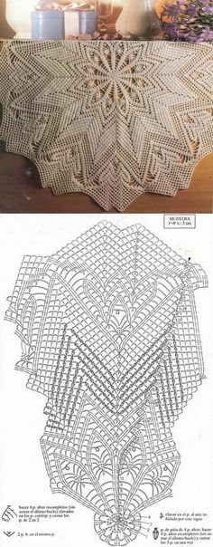 This Pin was discovered by Moz Crochet Tablecloth Pattern, Free Crochet Doily Patterns, Crochet Doily Diagram, Crotchet Patterns, Crochet Circles, Crochet Round, Tatting Patterns, Crochet Carpet, Crochet Home