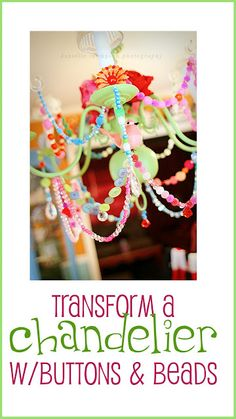 DIY Chandelier-They added all kinds of embellishments, beads, buttons etc. See close-up photos and read the tutorial