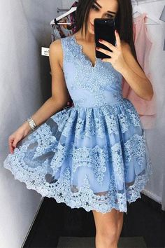Cute Blue Lace Short Prom Dress Blue Lace Homecoming Dress PG172