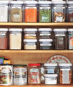 Keep bulk items, grains and dry goods in clear, labeled containers to keep your pantry organized. Includes sources!