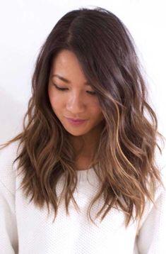 Mid length brown hair wavy