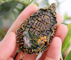 Door and Key / Pendant/Necklace / Jewelry / Handmade / Natural Ametist #Handmade