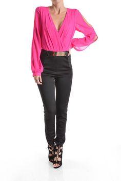 (ang) Long sleeves V neck hot pink and black jumpsuit