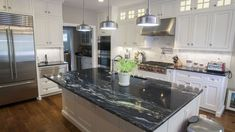 Supreme Kitchen Remodeling Choosing Your New Kitchen Countertops Ideas. Mind Blowing Kitchen Remodeling Choosing Your New Kitchen Countertops Ideas. Dark Granite Countertops, Black Kitchen Countertops, White Cabinets White Countertops, Light Gray Cabinets, Dark Kitchen Cabinets, Black Cabinets, White Granite, Laminate Countertops, White Marble