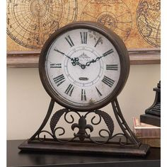 13 in. x 13 in. Iron Round Table Clock with Decorative Iron Work, Brown