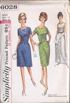 Simplicity 6028 - scalloped neckline dress pattern from 1965