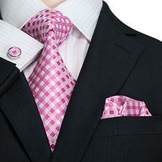 Landisun 550 Pinks White Plaids & Checks Mens Silk Tie Set: Tie+PS+Cufflinks